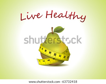 Live Healthy - fresh pear with measuring tape - stock vector