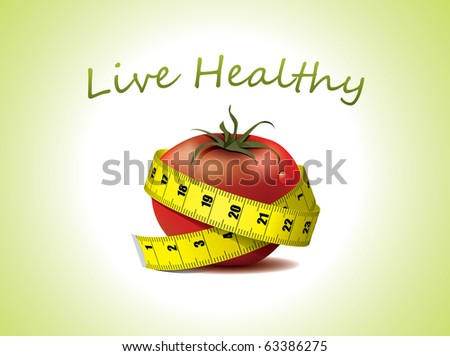 Live Healthy - fresh tomato with measuring tape - stock vector