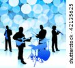 live music band on lens flare internet background - stock vector