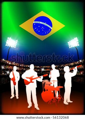 Live Music Band with Brazil Flag on Stadium Background Original Illustration - stock vector