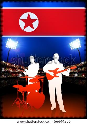 Live Music Band with North Korea Flag on Stadium Background Original Illustration - stock vector