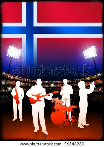 Live Music Band with Norway Flag on Stadium Background Original Illustration - stock vector