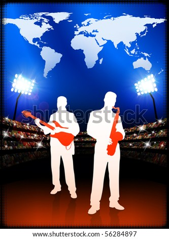 Live Music Band with World Map on Stadium Background Original Illustration - stock vector