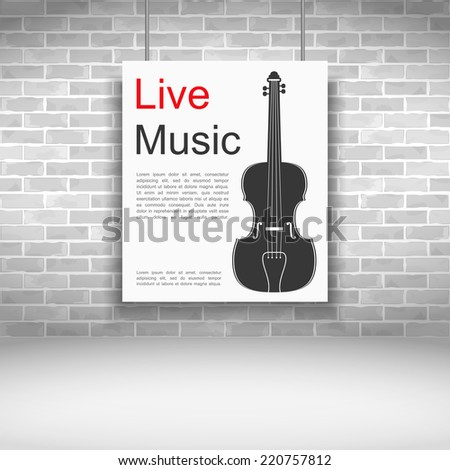 Live music banner with violin on brick wall, vector eps10 illustration - stock vector