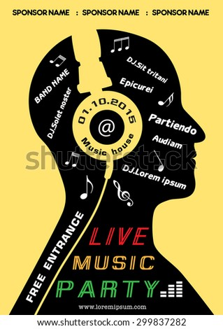 Live music party poster headphone cover man head concept, invitation, vector, illustration - stock vector