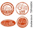 live music stamp set - stock vector
