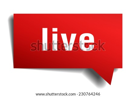 live red 3d realistic paper speech bubble