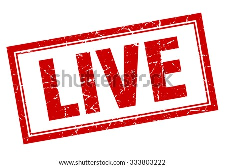 live red square grunge stamp on white - stock vector
