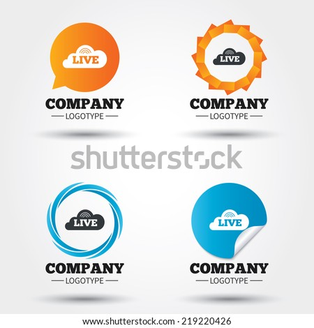 Live sign icon. On air stream symbol. Business abstract circle logos. Icon in speech bubble, wreath. Vector - stock vector