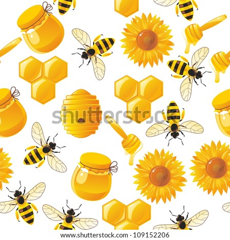 lively cartoon bees and honey seamless pattern in vector - stock vector