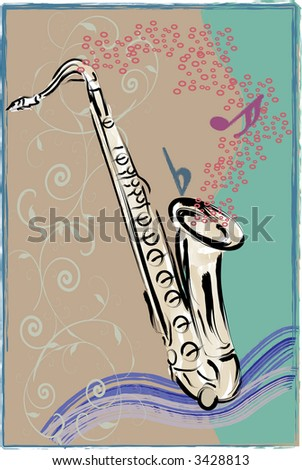 Lively vector art of Saxophone with sketchy, grunge style background. - stock vector