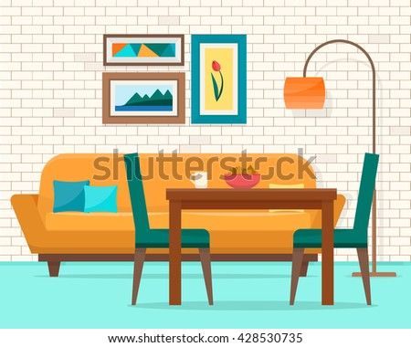 Living And Dining Room With Furniture Cozy Interior Sofa Table Chair In