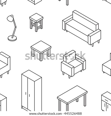 Living Furniture Seamless Pattern 3d Line 445526488