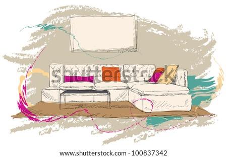 Living room - stock vector