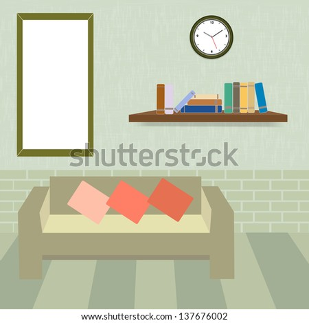 Living room and book shelf in vintage style,vector eps10 - stock vector