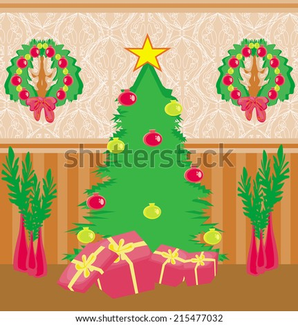 living room at Christmas time.  - stock vector