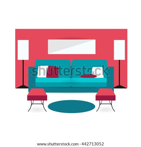 Living Room Background Interior Colorful Design With Furniture Double Sofa Cupboards
