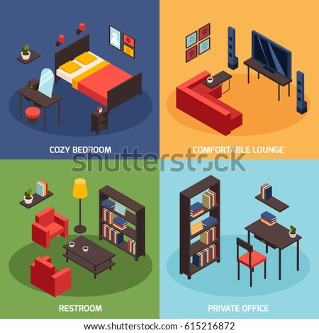 Living room objects furniture and equipment vector illustration - Book Isometric Flat Icons Set Vector Stock Vector