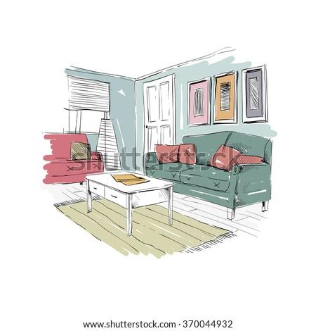 Set Different Interior Hand Drawn Sketch Stock Vector 370044890  Shutterstock