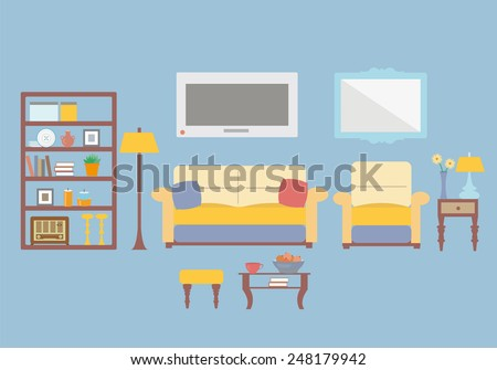 Living Room Design Interior Vector Template Illustration With Typical Furniture Items