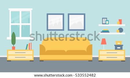 Living Room Design. Vector Illustration