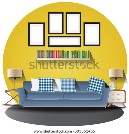 Living Room Elevation Set Background Interiorvector Stock Vector
