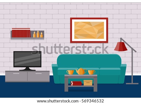 Living Room Flat Interior Vector Background Home Design With Furniture Couch Coffee Table