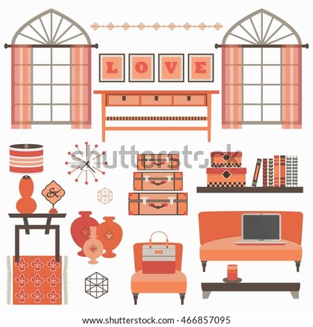 Living Room Furniture Accessories Coral Windows Stock Vector ...