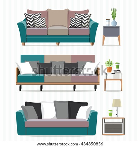 Living room furniture design concept set with modern home interior elements  isolated vector illustration. Living Room Furniture Design Concept Set Stock Vector 322095509