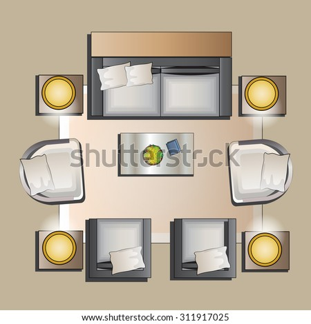 living room top view living room furniture top view set stock vector royalty 14256