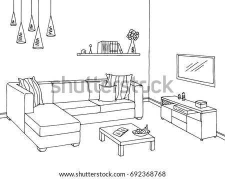 living room graphic black white interior ��������� 692368768