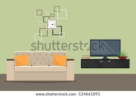 Living Room Green Color Sofa Home Stock Vector 524661895 - Shutterstock