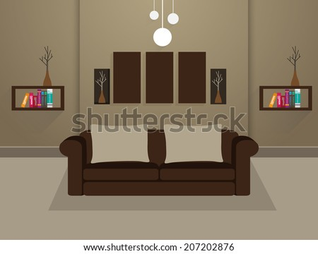 Living room interior - stock vector