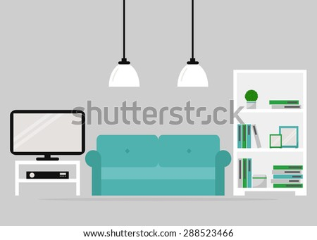 Living room interior design. Modern furniture isolated icons: sofa, bookcase, tv set, tv table and lamps. White furniture on grey background. Flat style vector illustration. - stock vector