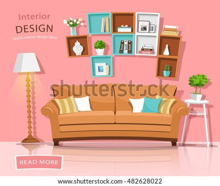Living Room Interior Design Couch Lamp Stock Vector 482628022 ...