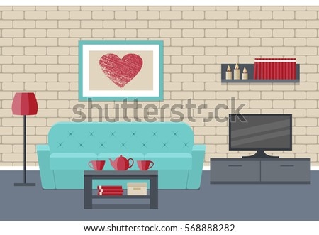 Living Room Interior Flat Vector Background Home Design Lounge With Furniture Couch Coffee