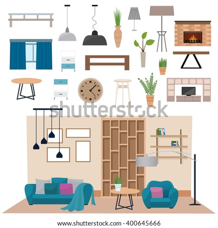 Living room interior furniture and living room interior design. Luxury living room interior wall architecture. Modern living room interior with wood floor apartment furniture vector illustration. - stock vector