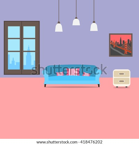 Living Room Interior Wallpaper Design Furniture Stock Photo (Photo ...