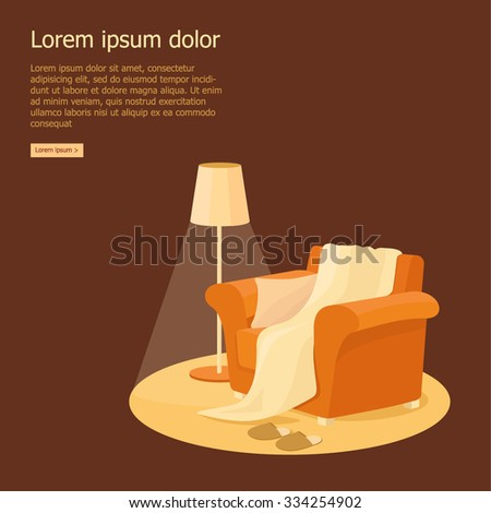 Living room interior with cozy sofa and lamp vector illustration - stock vector