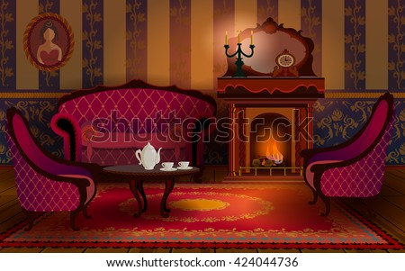 Living room interior with fireplace, sofa and armchair. On the table are the cup of tea. The cozy interior with candles in old English Victorian style. - stock vector