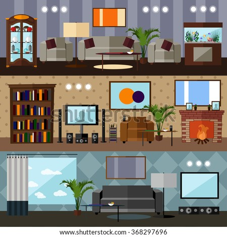 Living room interior with furniture. Concept vector illustration in flat style - stock vector
