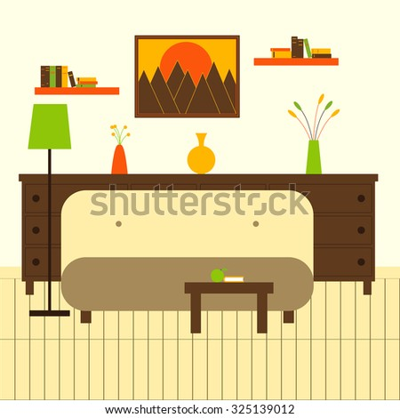 Living room interior with sofa, floor lamp, coffee table with apple and book, chest of drawers  with vases and flowers on it, two bookshelves with books, framed painting on wall and wooden floor - stock vector