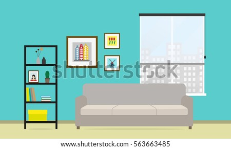 Living Room Interior With Sofa, Window, Bookcase And Picture Frame On The  Wall.