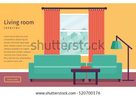 Living Room Interior With Window In Flat Design Banner Text Vector Illustration