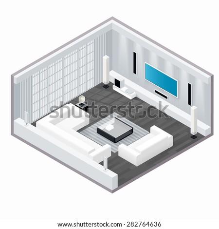 Living room isometric set vector graphic illustration - stock vector