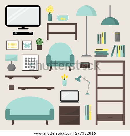 Living room. Living room elements set. Living room interior design isolated icons. Apartment elements. Big living room icons set. Modern furniture. Couch, bookcase. Flat style vector illustration.  - stock vector