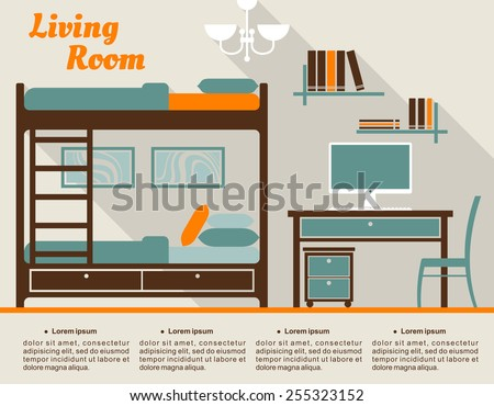 cartoon bunk bed. Living Room Modern Interior Design Infographic In Flat Style Including Bunk Bed With Stairs, Table Cartoon