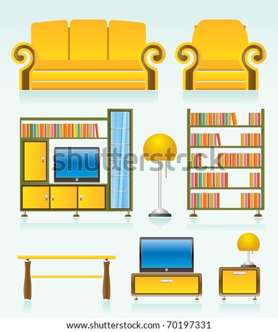 living room objects, furniture and equipment - vector illustration - stock vector