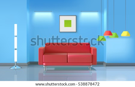 Living room realistic design with red sofa and colorful lamps vector illustration