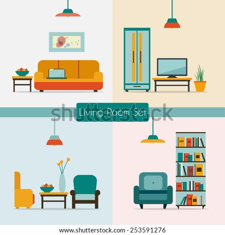 Living room set with furniture and long shadows. Flat style vector illustration. - stock vector